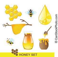 miel, ensemble, vecteur, abeille