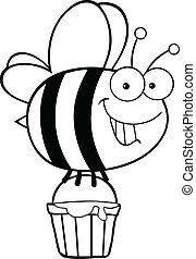miel, esquissé, seau, abeille