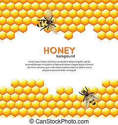 miel, fond, abeille