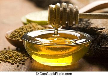 miel, frais, pollen, abeille