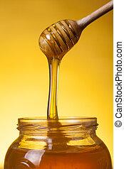 miel, gros plan, coup, écoulement
