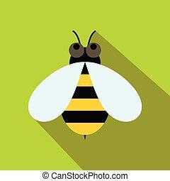 miel, icône, style, abeille, plat