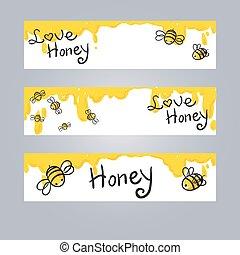 miel, illustration, abeille