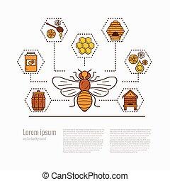 miel, illustration., icône, abeille