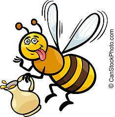 miel, insecto, caricatura, ilustración, abeja