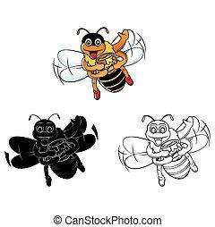 miel, livre coloration, abeille, caracter