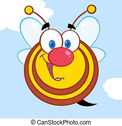 miel, mignon, caractère, dessin animé, abeille