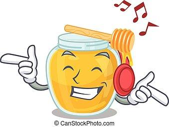 miel, musique écouter, concept, caractère, dessin animé