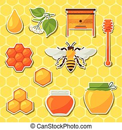 miel, objetos, diseño, plano de fondo, abeja