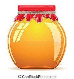miel, olla, cubierta, rojo