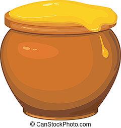 miel, olla, vector, caricatura, ilustración