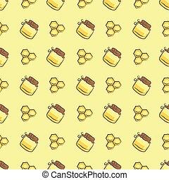 miel, patrón, tarro, panal