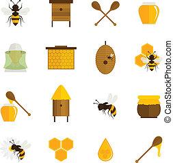 miel, plano, conjunto, abeja, iconos