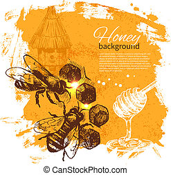 miel, plano de fondo, con, mano, dibujado, bosquejo,...