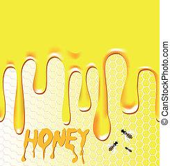 miel, plano de fondo, con, panal, abeja, wax.