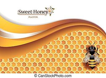 miel, plano de fondo, con, trabajando, abeja