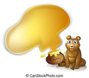 miel, pot, ours