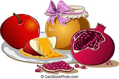 miel, rosh, manzana, hashanah, granada