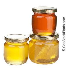 miel, tarros, aislado