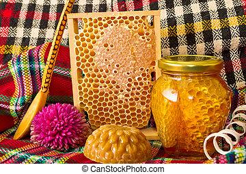 miel, tarros, productos, honeycomb.
