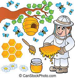 miel, thème, collection, abeille