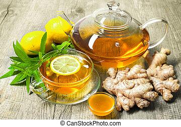 miel, thé, citron, gingembre, tasse