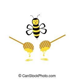 miel, vecteur, jaune, abeille