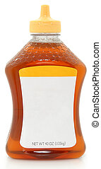 miel, vide, bouteille, étiquette