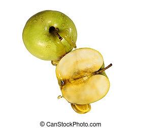 miel, y, manzanas