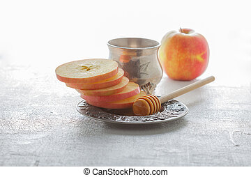 miel, y, manzanas, para, rosh hashanah