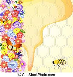 miele, api, fiori
