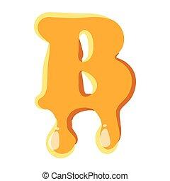 miele, b, lettera, icona