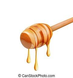 miele, bianco, sgocciolatura, fondo, isolato