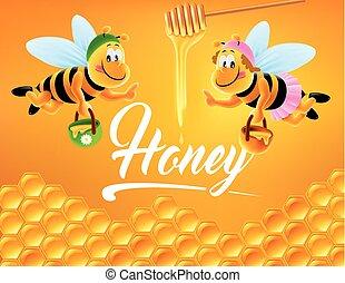 miele, cartone animato, delizioso, illustrazione, ape