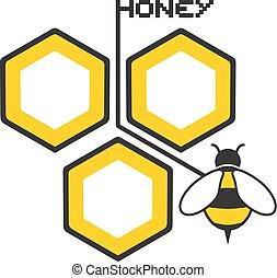 miele, elegante, simbolo, fresco