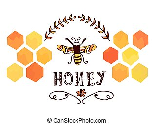 miele, etichetta, con, ape, e, cellule, -, divertente,...