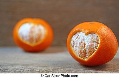 miele, mandarini, e, forma cuore, su, anticaglia, legno, tavola.