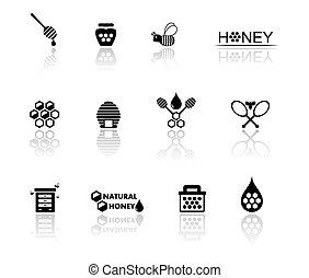miele, set, icona