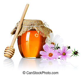 miele, sopra, vaso, bianco