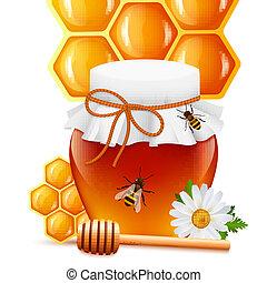 miele, stampa, mestolo, pettine, vaso