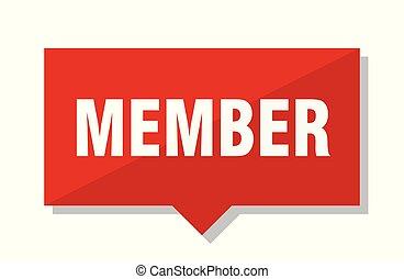 miembro, etiqueta, rojo