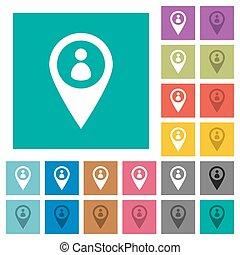 miembro, gps, mapa, ubicación, cuadrado, plano, multi coloró, iconos