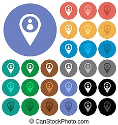miembro, gps, mapa, ubicación, redondo, plano, multi coloró, iconos