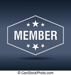 miembro, hexagonal, blanco, vendimia, estilo retro, etiqueta