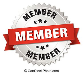 miembro, rojo, insignia, plata, cinta, 3d