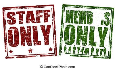 miembro, solamente, sellos, personal