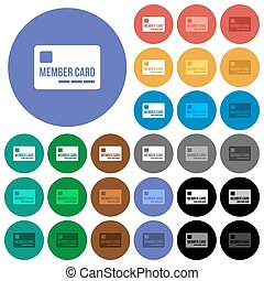 miembro, tarjeta, redondo, plano, multi coloró, iconos