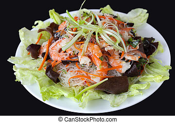 Mien Cellophane Noodle with shrimp and wood ear mushroom
