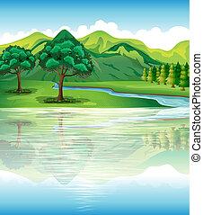 mienk, természetes, vidék, és, víz, erőforrás