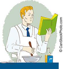 mientras, cocina, lectura, hombre